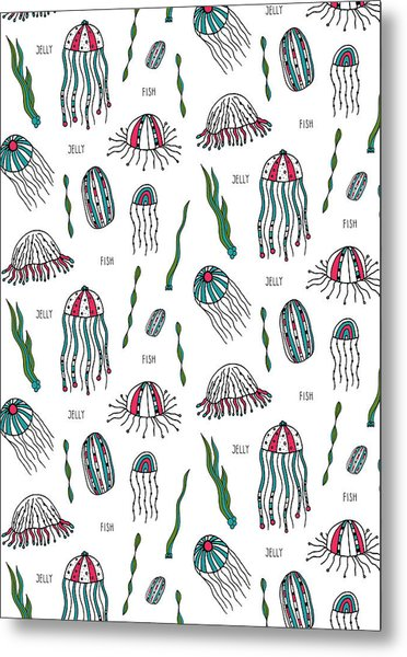 Jellyfish Repeat Print Metal Print