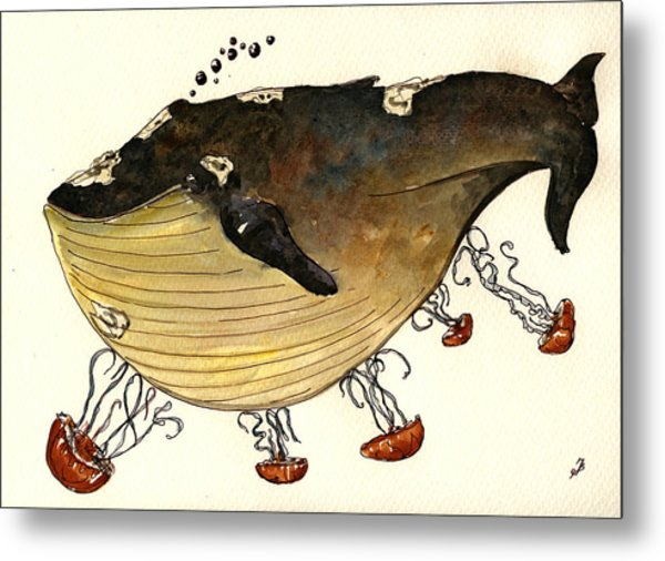 Jellyfish Tickling A Whale Metal Print