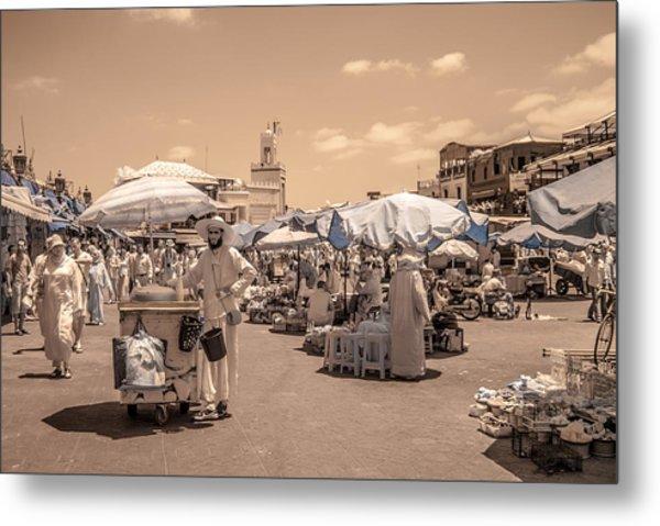 Jemaa El Fna Market In Marrakech Metal Print