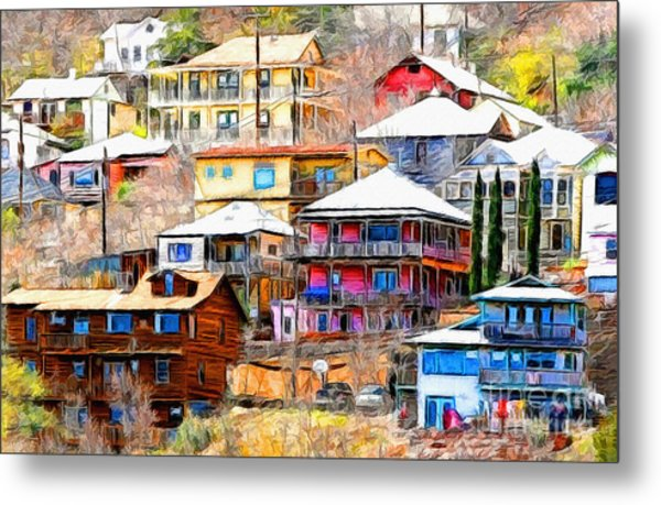 Jerome Arizona Hillside Houses Metal Print