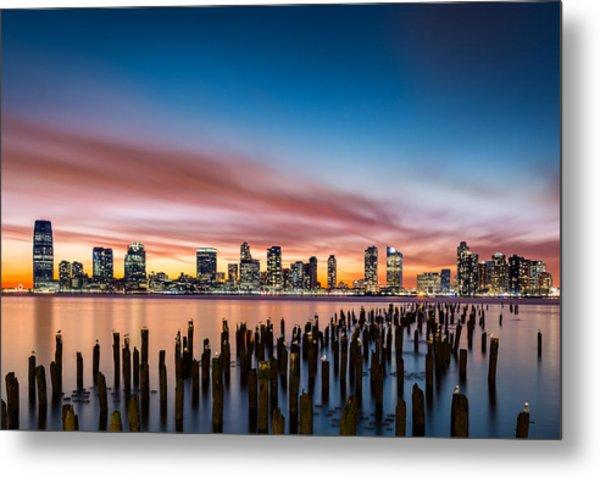 Jersey City Skyline At Sunset Metal Print