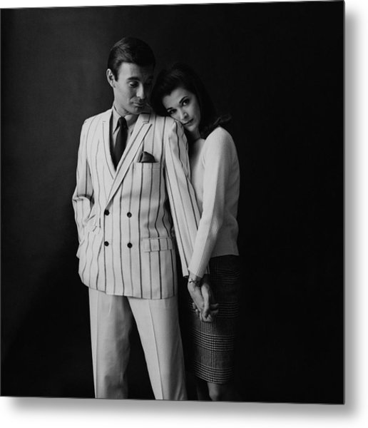 Jessica Walter Posing With A Male Model Metal Print by Leonard Nones