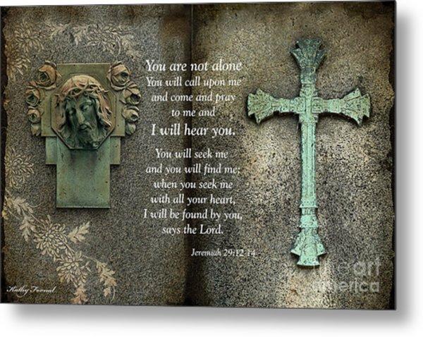 Jesus And Cross - Inspirational - Bible Scripture Metal Print
