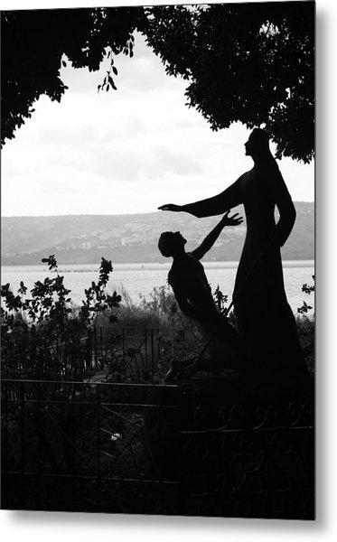 Jesus And Saint Peter By Sea Of Galilee Metal Print