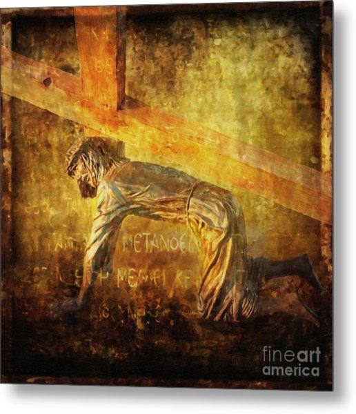 Jesus Falls Again Via Dolorosa 7 Metal Print