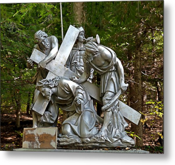 Jesus Falls The First Time Metal Print