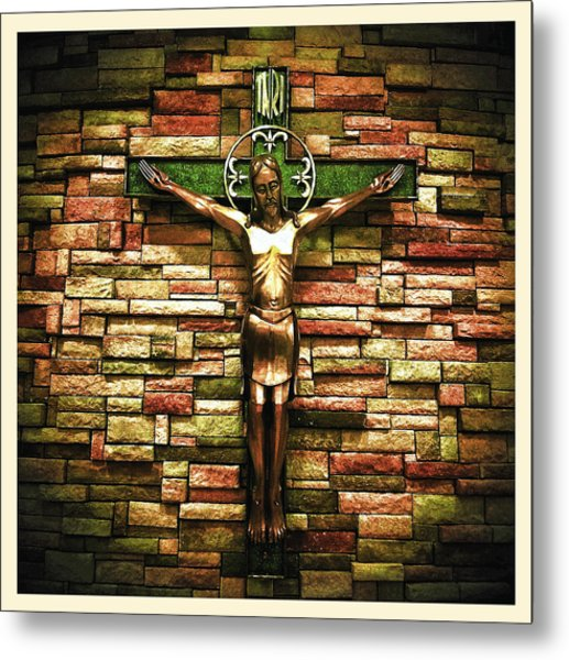 Jesus Is His Name Cream Border Metal Print