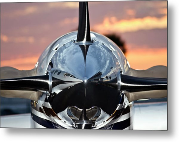 Airplane At Sunset Metal Print