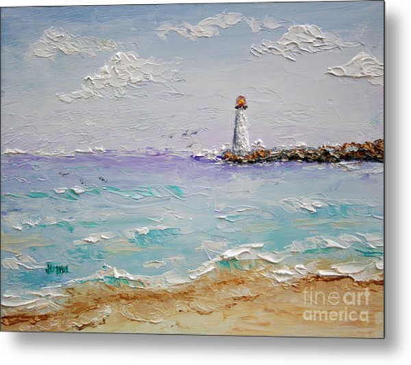 Jetty Lighthouse Metal Print