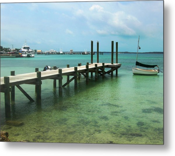 Jetty Old Boat Metal Print by Sarah-jane Laubscher