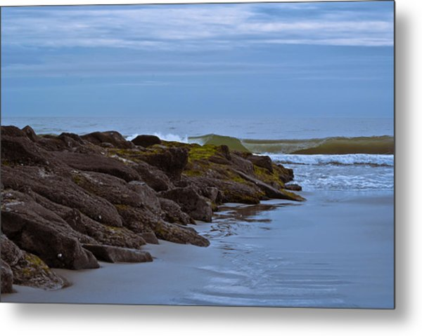 Metal Print featuring the photograph Jetty Vs Waves by Francis Trudeau