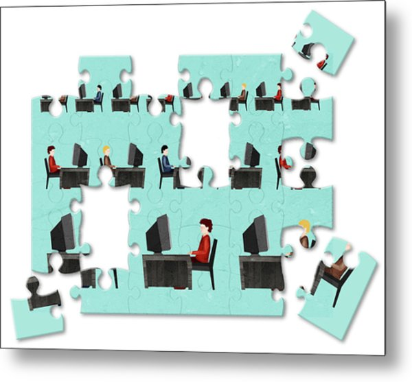 Jigsaw Puzzle Of Businessmen Metal Print by Fanatic Studio / Science Photo Library