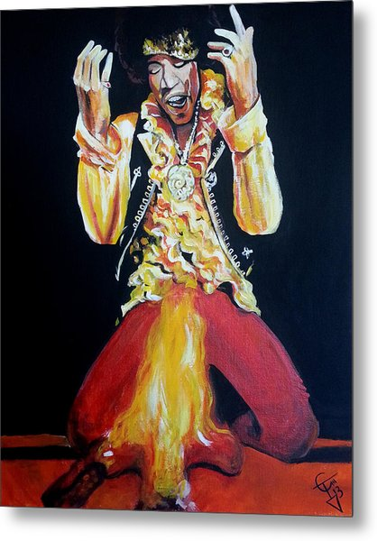 Jimi Hendrix - Fire Metal Print by Tom Carlton