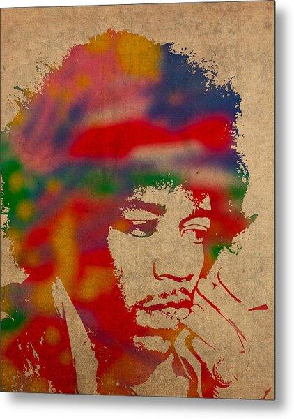 Jimi Hendrix Watercolor Portrait On Worn Distressed Canvas Metal Print