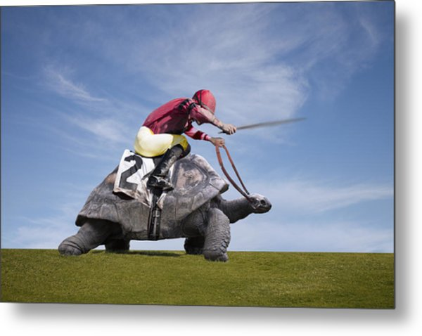 Jockey Over A Turtle Metal Print by Buena Vista Images