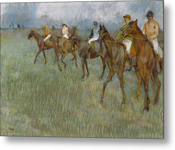 Jockeys In The Rain, 1886 Metal Print