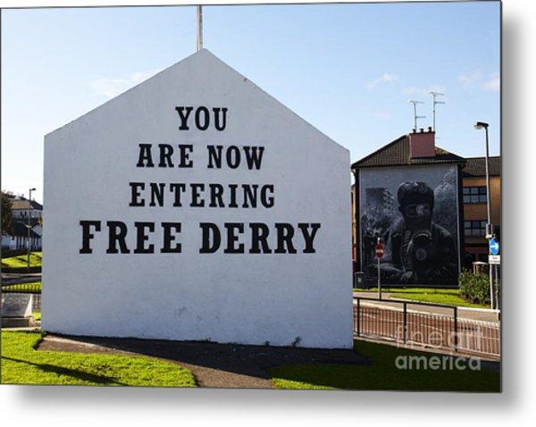 Joe Fox Fine Art - Free Derry Corner Mural Londonderry Northern Ireland Metal Print