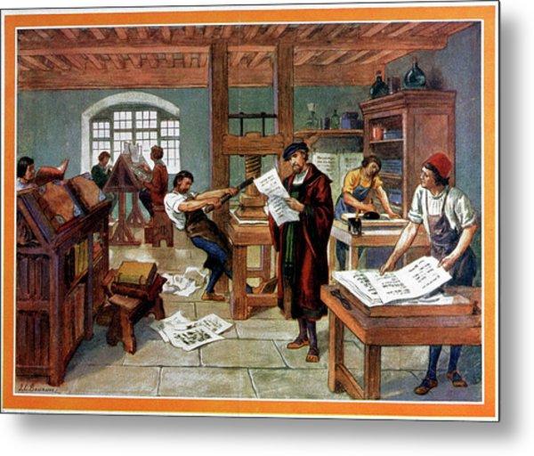 Johann Gutenberg's Printing Press Metal Print