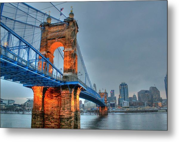 John A Roebling Suspension Bridge Cincinnati Ohio Metal Print