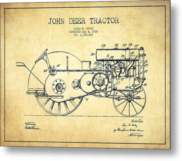 John Deer Tractor Patent Drawing From 1930 - Vintage Metal Print