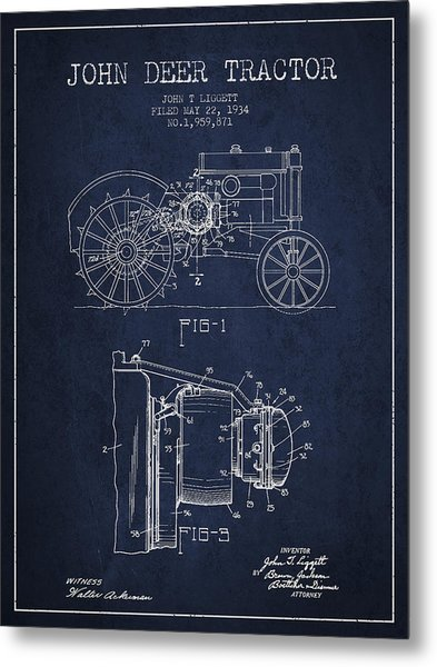 John Deer Tractor Patent Drawing From 1934 - Navy Blue Metal Print