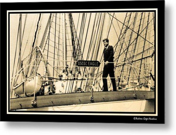 John F Kennedy On Coast Guard Eagle Metal Print