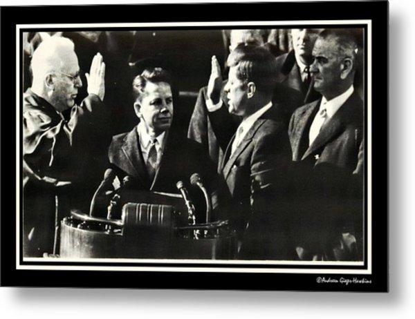 John F Kennedy Takes Oath Of Office Metal Print