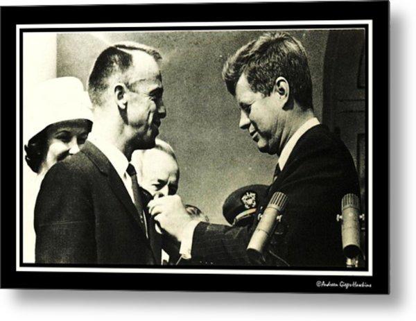 John F Kennedy With Astronaut Alan B Shepard Jr Metal Print