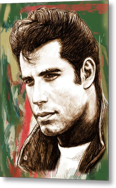 John Travolta - Stylised Drawing Art Poster Metal Print by Kim Wang