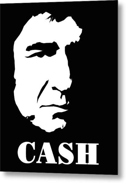 Johnny Cash Black And White Pop Art Metal Print