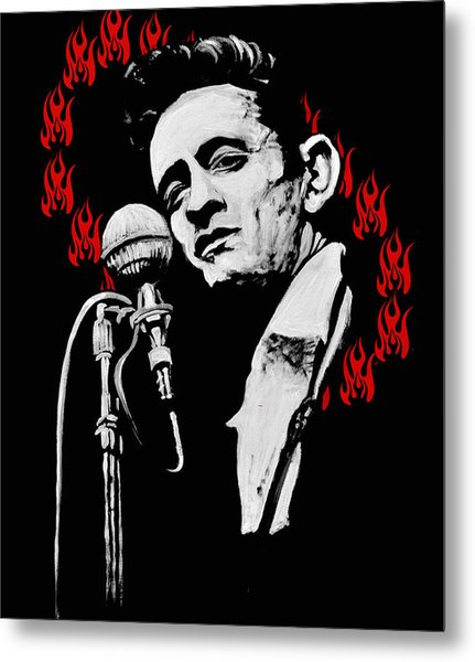 Johnny Cash Ring Of Fire Metal Print