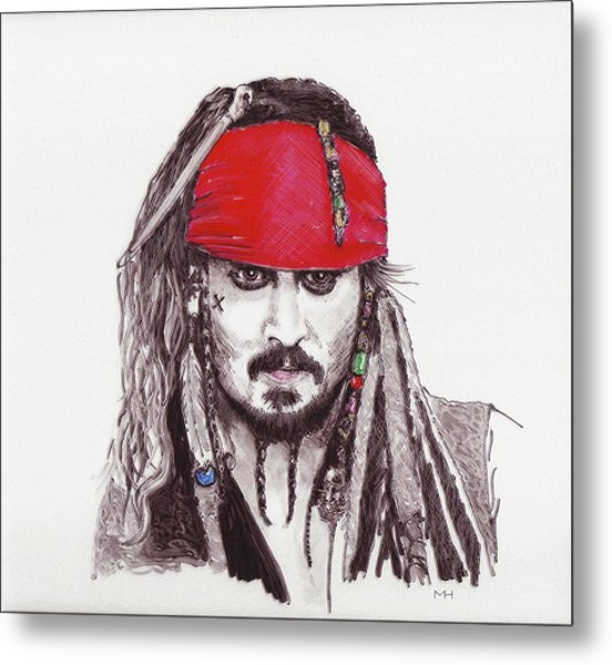 Johnny Depp As Jack Sparrow Metal Print by Martin Howard