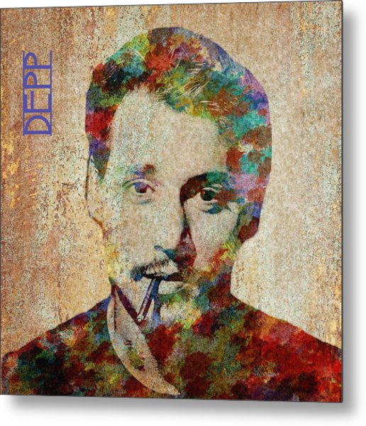 Johnny Depp Watercolor Splashes Metal Print