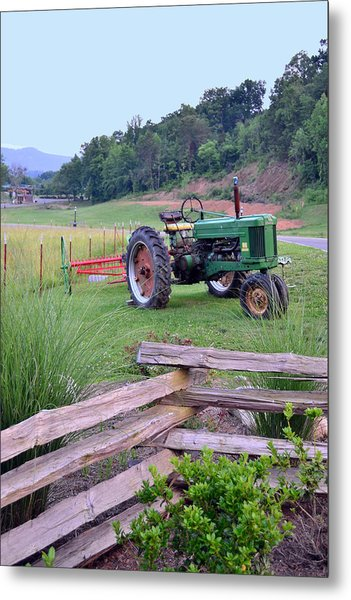 John's Green Tractor Metal Print