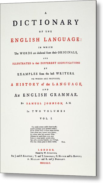 Johnson's Dictionary, 1755 Metal Print