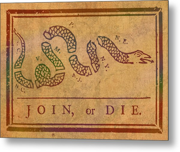 Join Or Die Benjamin Franklin Political Cartoon Pennsylvania Gazette Commentary 1754 On Parchment  Metal Print