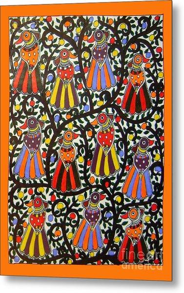 Joint Family Of Birds-madhubani Painting Metal Print