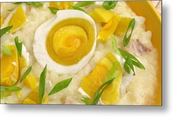 Jook Chinese Rice Porridge With Salted Duck Egg Metal Print