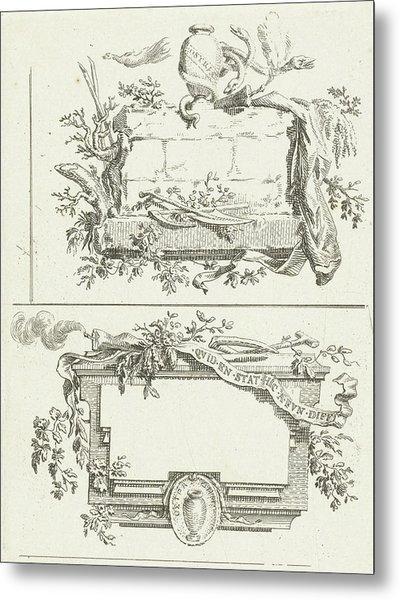 Journal With Three Vignettes Including Name Bilderdijk Metal Print