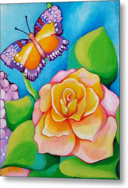 Joyful Garden #3 Lower Right Panel Metal Print