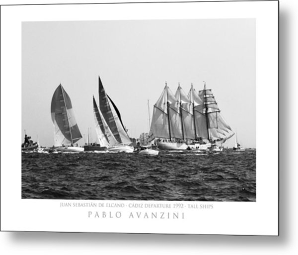 Juan Sebastian Elcano Departing The Port Of Cadiz Metal Print