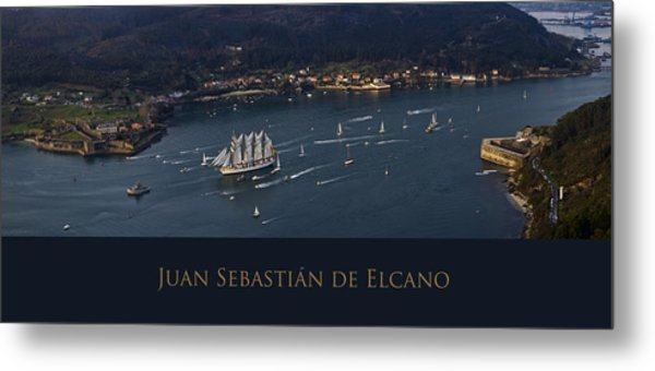 Juan Sebastian Elcano Departing The Port Of Ferrol Metal Print