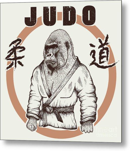 Judoka Gorilla Dressed In Kimono. Hand Metal Print