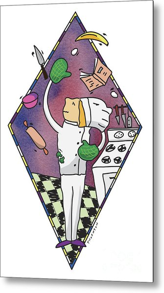 Juggling Chef Metal Print