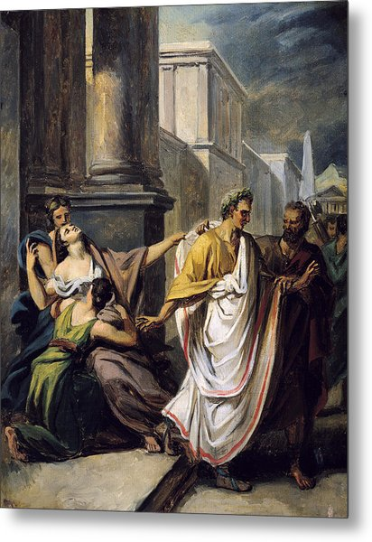 Julius Caesar 100-44 Bc On His Way To The Senate On The Ides Of March Oil On Canvas Study Metal Print