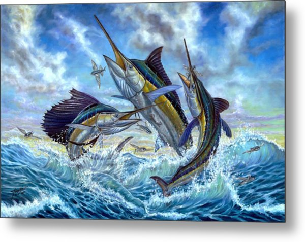 Jumping Grand Slam And Flyingfish Metal Print