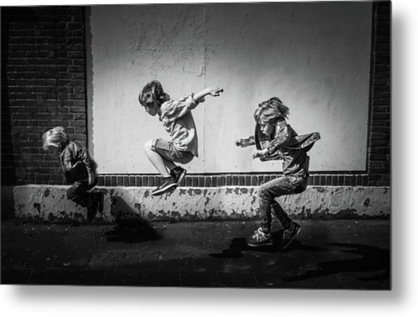 Jumping Over The Shadows Metal Print