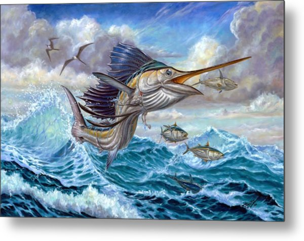 Jumping Sailfish And Small Fish Metal Print