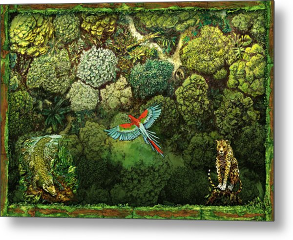 Jungle Animals Framed Metal Print
