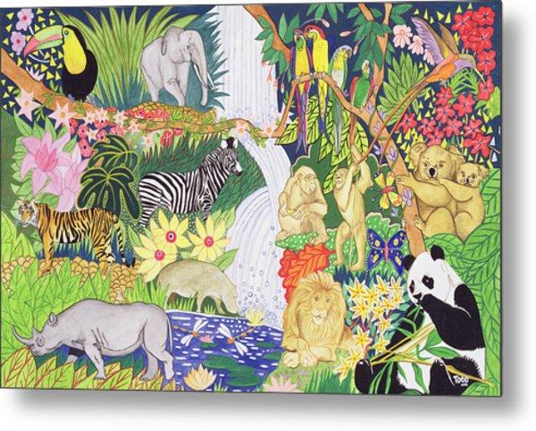 Jungle Animals Wc Metal Print